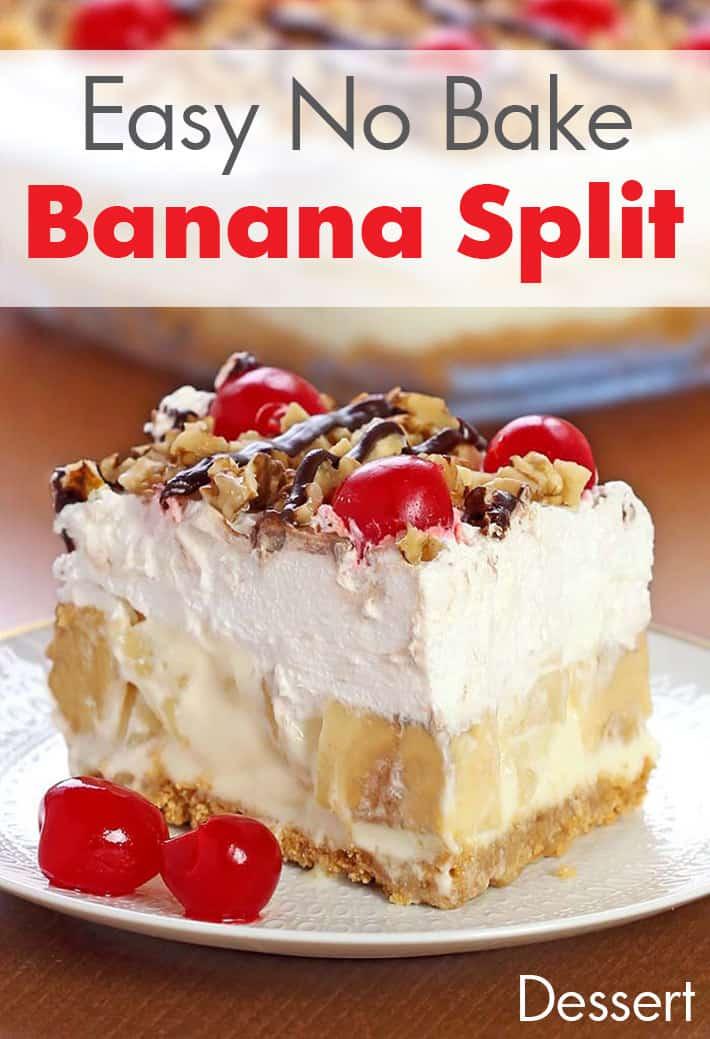 Lazy Girl:Easy No Bake Banana Split Dessert Recipe