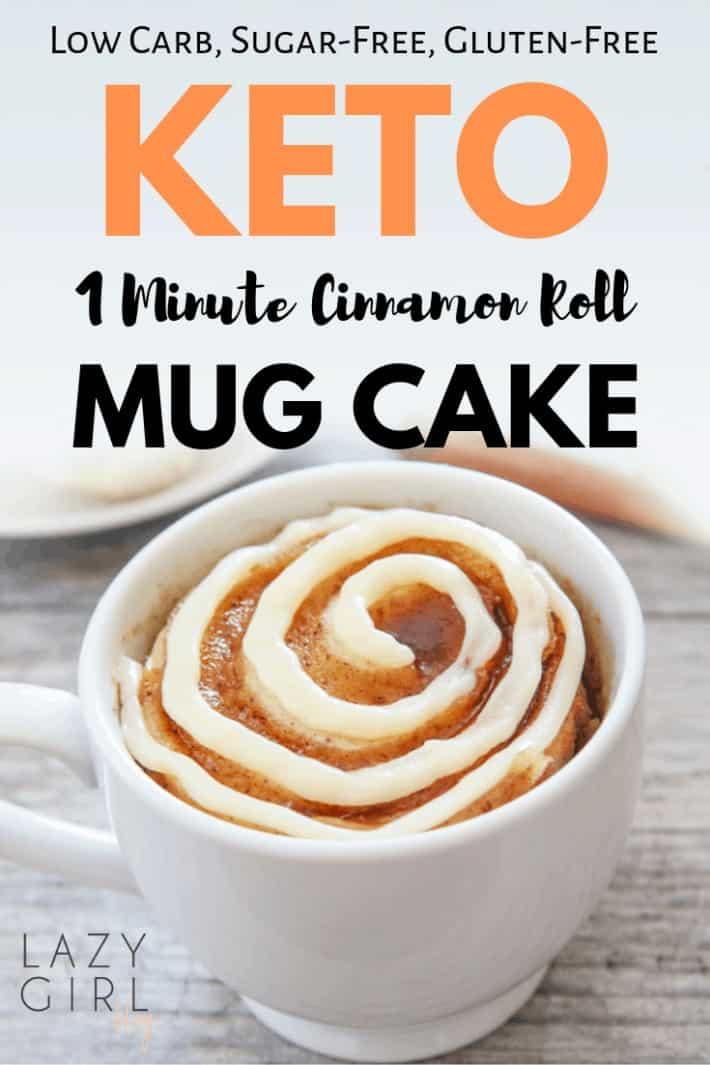 1 Minute Low Carb Keto Cinnamon Roll Mug Cake