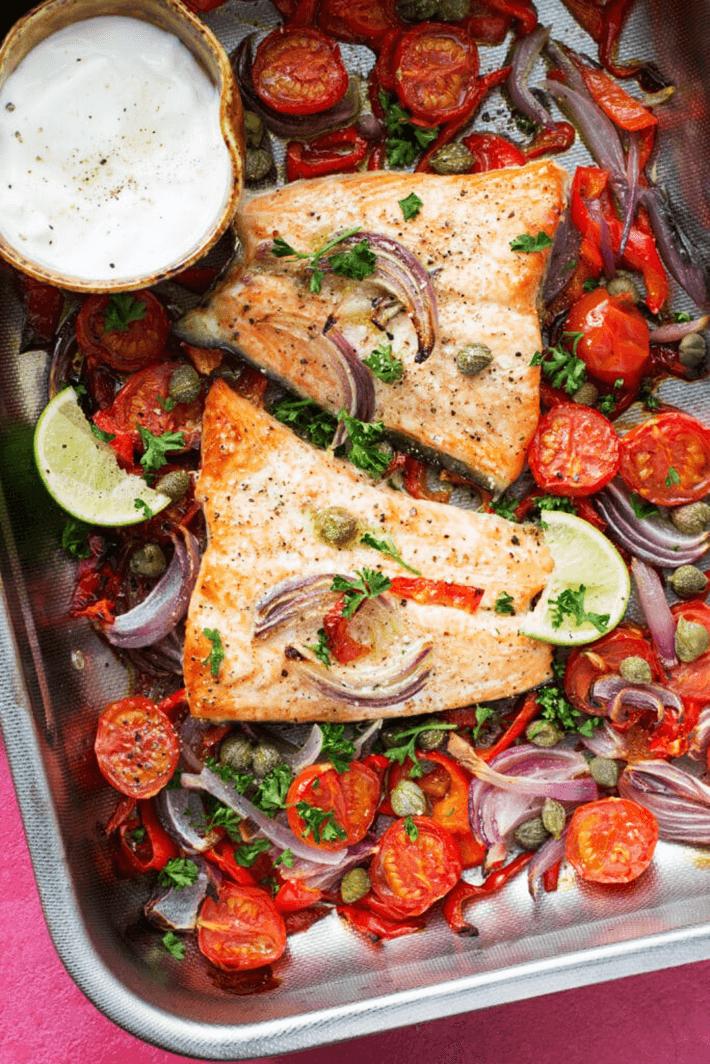 Easy keto one pan salmon dinner recipe.