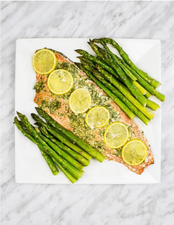 Keto Sheet Pan Salmon and Asparagus recipe.